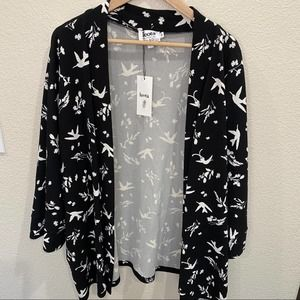 Leota floral birds black and white cardigan